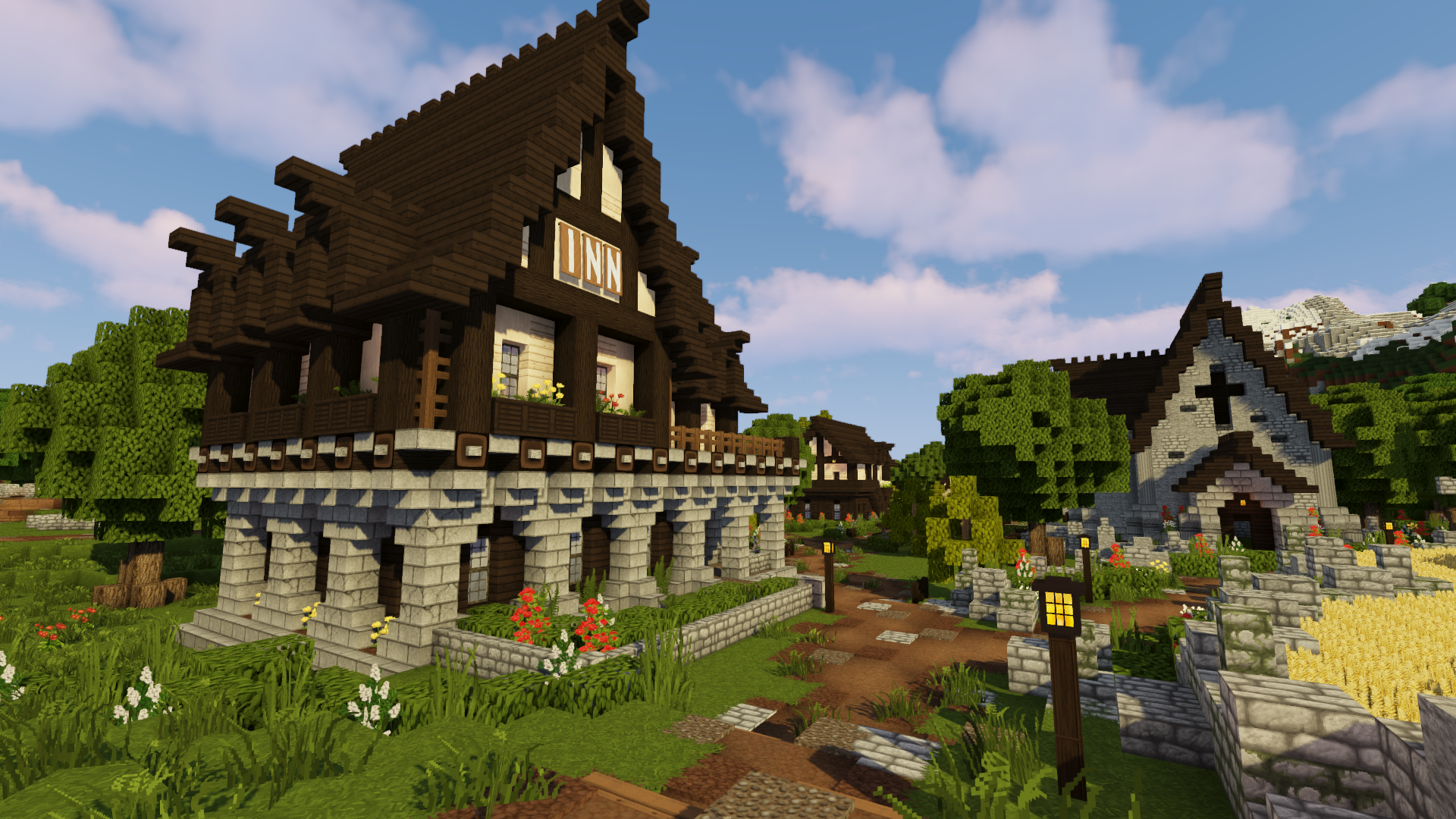 Minecraft Medieval Village With Castle World Download Bluenerd