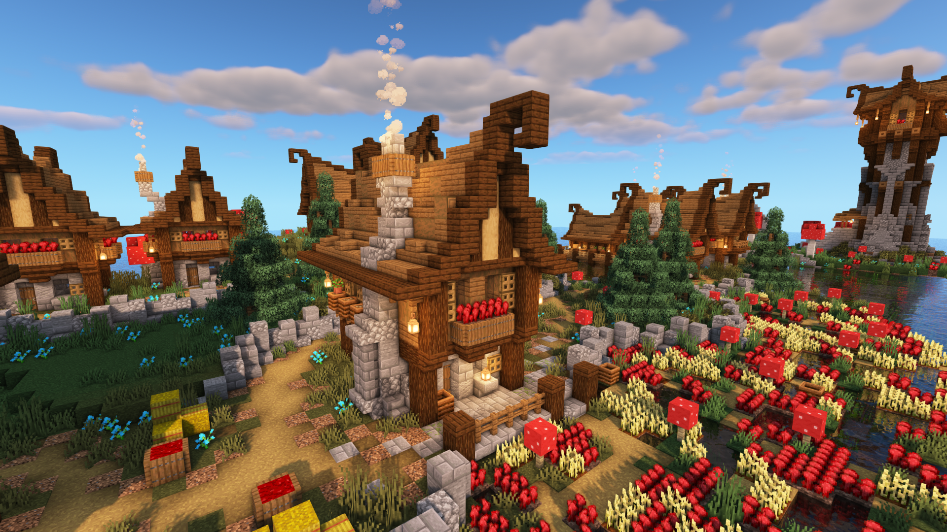 Minecraft Timelapse: Transforming a Swamp Biome into a Fantasy Village
