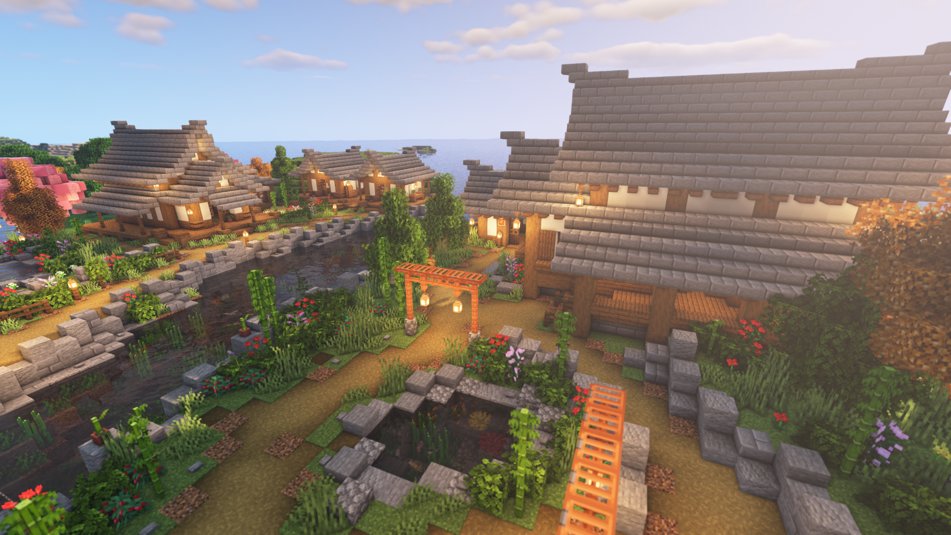 Minecraft Timelapse: Transforming a Plains Biome into a Japanese Village
